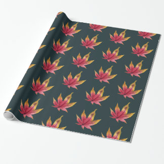 Autumn Maple Leaf Watercolor Painting Pattern Wrapping Paper