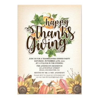 Autumn Maple Leaves Chic Thanksgiving Dinner Party Card