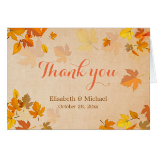 Autumn Maple Leaves Elegant Thank You Card