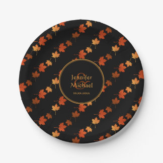 Autumn maple leaves fall stripes pattern paper plate