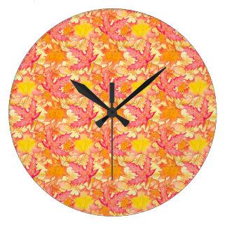 Autumn Maple Leaves Large Clock