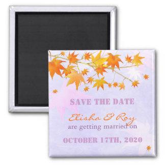 Autumn Maple Leaves Lavender Save the Date Fridge Magnets