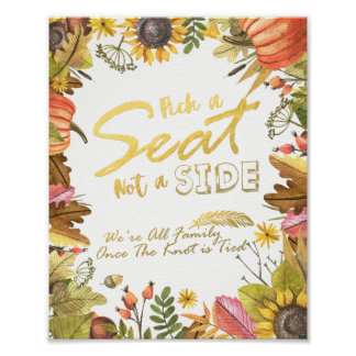 Autumn Maple Leaves Pick A Seat Not A Side Wedding Poster