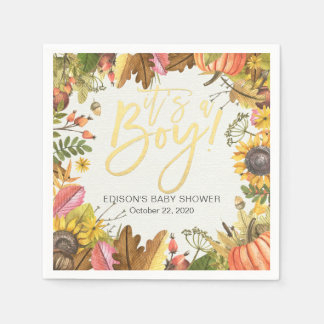 Autumn Maple Leaves Pumpkin Sunflower Baby Shower Paper Napkin