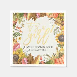 Autumn Maple Leaves Pumpkin Sunflower Baby Shower Paper Napkin