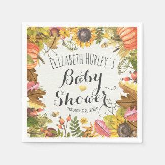 Autumn Maple Leaves Pumpkin Sunflower Baby Shower Paper Napkins