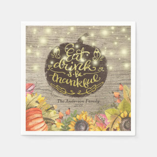 Autumn Maple Leaves Pumpkins Thanksgiving Dinner Disposable Napkins