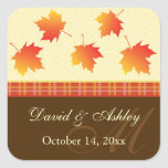 Autumn Maple Leaves Wedding Square Stickers