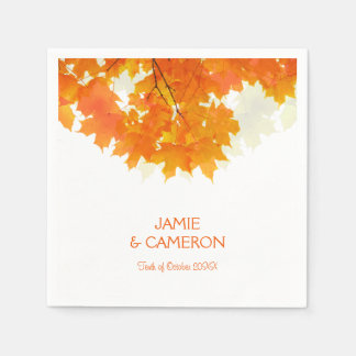Autumn Maple Leaves Wedding Wedding Napkin Paper Napkins