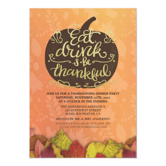 Autumn Maple & Pumpkins Thanksgiving Dinner Party Card