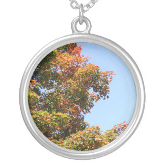 Autumn Maple Tree Silver Plated Necklace
