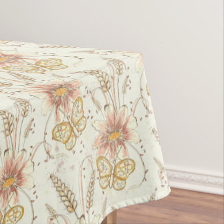 Autumn Meadow Butterflies Cotton Tablecloth