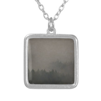 Autumn Moods Misty Forest Photo Art Nature Scene Silver Plated Necklace