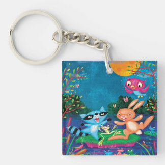 Autumn Moon Double-Sided Square Acrylic Keychain