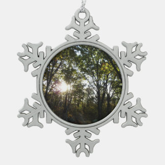 Autumn Morning at Shenandoah National Park Snowflake Pewter Christmas Ornament