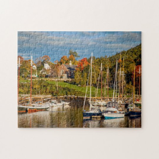 Autumn Morning In The Camden Harbour, Camden Jigsaw Puzzle