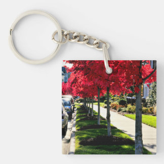 Autumn Morning Double-Sided Square Acrylic Keychain