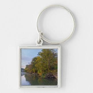 Autumn Morning Lake Springfield Keychain