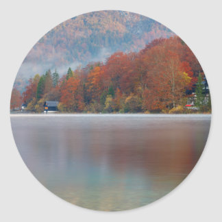 Autumn morning over Lake Bohinj Classic Round Sticker