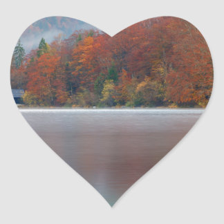 Autumn morning over Lake Bohinj Heart Sticker