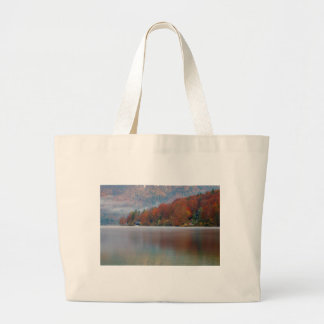 Autumn morning over Lake Bohinj Large Tote Bag