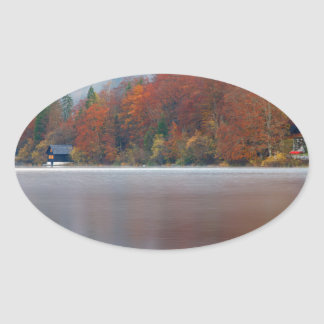Autumn morning over Lake Bohinj Oval Sticker