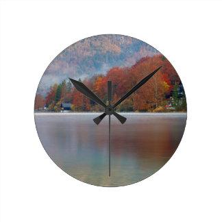 Autumn morning over Lake Bohinj Round Clock