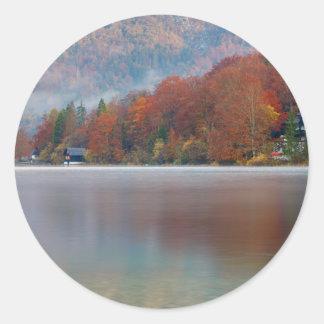 Autumn morning over Lake Bohinj Round Sticker