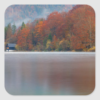 Autumn morning over Lake Bohinj Square Sticker