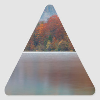 Autumn morning over Lake Bohinj Triangle Sticker