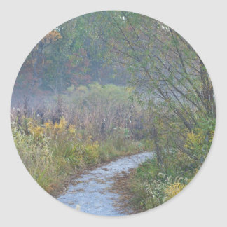 Autumn Morning Round Sticker