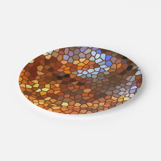Autumn Mosaic Abstract 7 Inch Paper Plate