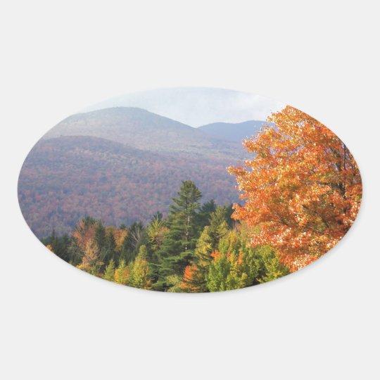 Autumn Mount Mansfield Vermont Oval Sticker