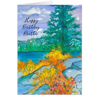 Autumn Mountain Lake Happy Birthday Brother Card