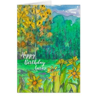 Autumn Mountain Meadow Happy Birthday Card