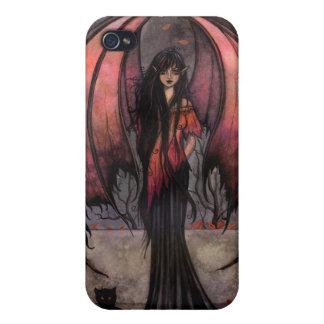Autumn Mystique Gothic Fantasy Fairy and Cat iPhone 4 Case