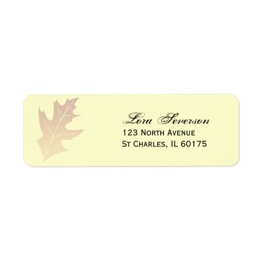 Autumn Oak Leaf Return Address Return Address Label