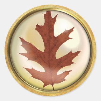 Autumn Oak Leaf Rust Classic Round Sticker