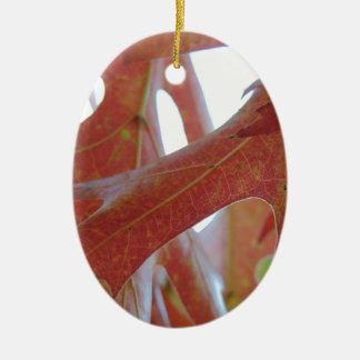 Autumn Oak Leaves Ceramic Oval Ornament