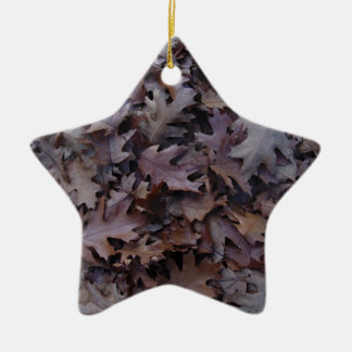Autumn Oak Leaves Ceramic Star Ornament