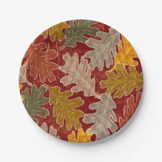 Autumn Oak Leaves Paper Plate