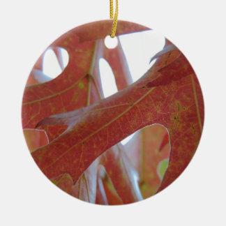 Autumn Oak Leaves Round Ceramic Ornament