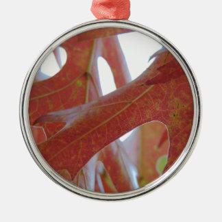 Autumn Oak Leaves Silver-Colored Round Ornament