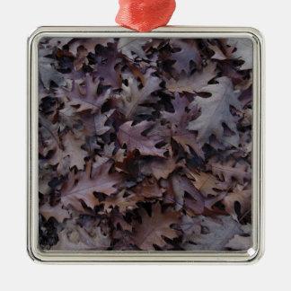 Autumn Oak Leaves Silver-Colored Square Ornament