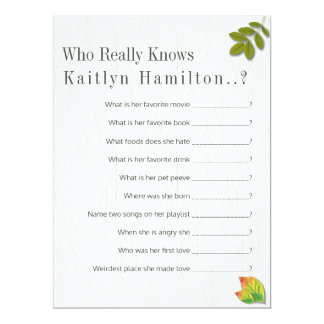 Autumn Oak Wedding Shower Quiz Game Card