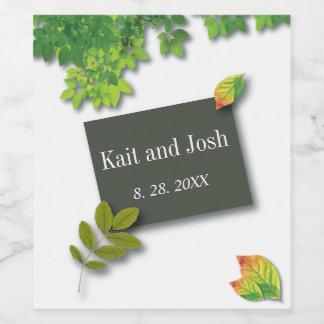 Autumn Oak Wedding Wine Label