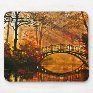 Autumn - Old bridge in autumn misty park Mouse Pad