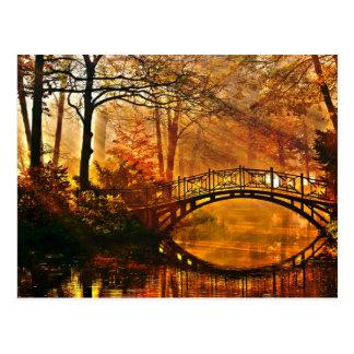Autumn - Old bridge in autumn misty park Postcard