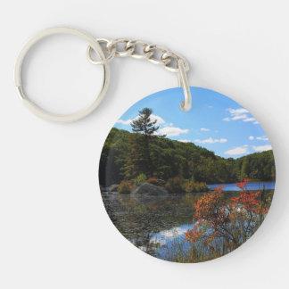 Autumn On Lake Double-Sided Round Acrylic Keychain