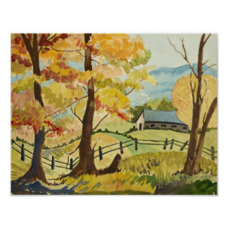 Autumn on the Farm Poster